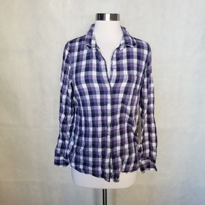 J. CREW. purple plaid fitted button down shirt